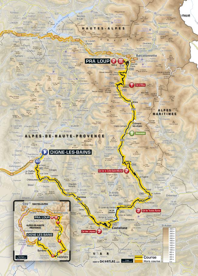 Carte de la 17e étape du Tour de France 2015 - Digne-les-Bains - Pra Loup