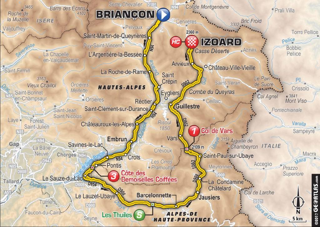 Carte de l'étape 18 du Tour de France dans les Alpes de Haute-Provence. Jeudi 20 juillet 2017 ÉTAPE 18 - 178km - Briançon / Izoard. ©Geolatlas