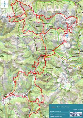Carte de l'ensemble des itinéraires de randonnée des Tours du Haut-Verdon