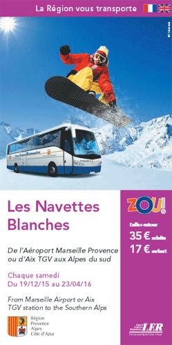 Navettes blanches Directement de l'avion ou du TGV aux stations de ski des Alpes de Haute-Provence, Alpes du Sud.