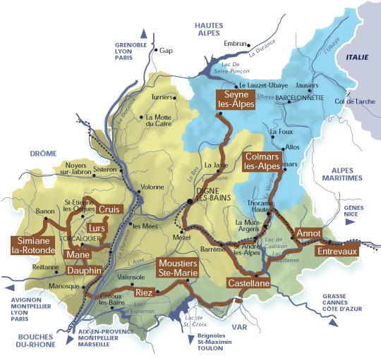 Carte interactive de la route des « Villages et cités de caractère » dans les Alpes de Haute-Provence