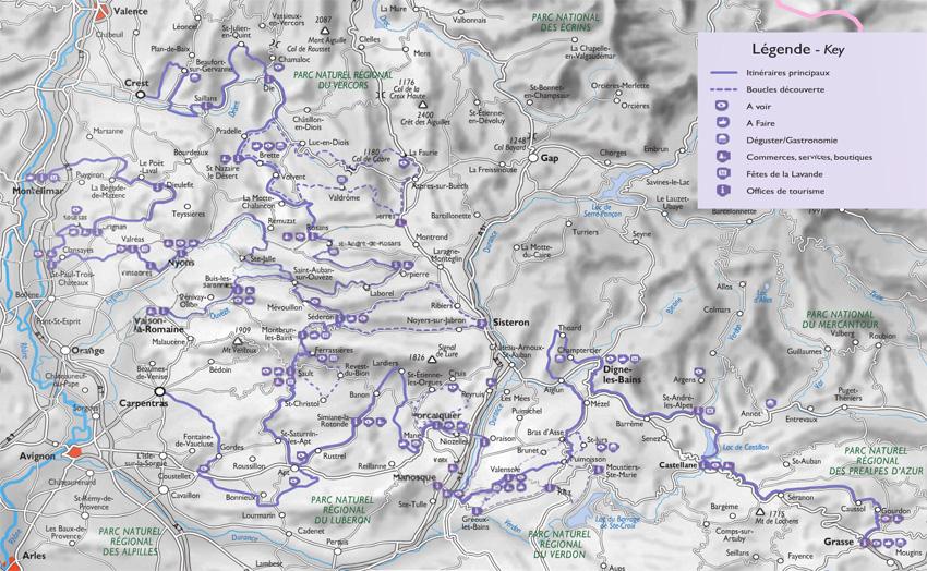 carte Les routes de la lavande Itinérances à vélo