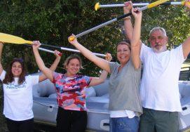 Corinne et Cyrille G. & leurs filles en raft en Ubaye