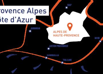 Carte au coeur de la Région Sud Provence Alpes Côte d'Azur