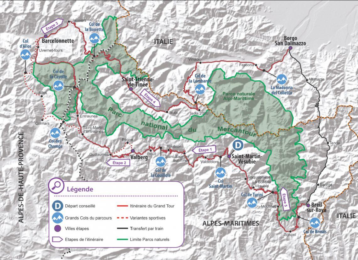 Carte Grand Tour à Vélo Alpi Marittime / Mercantour