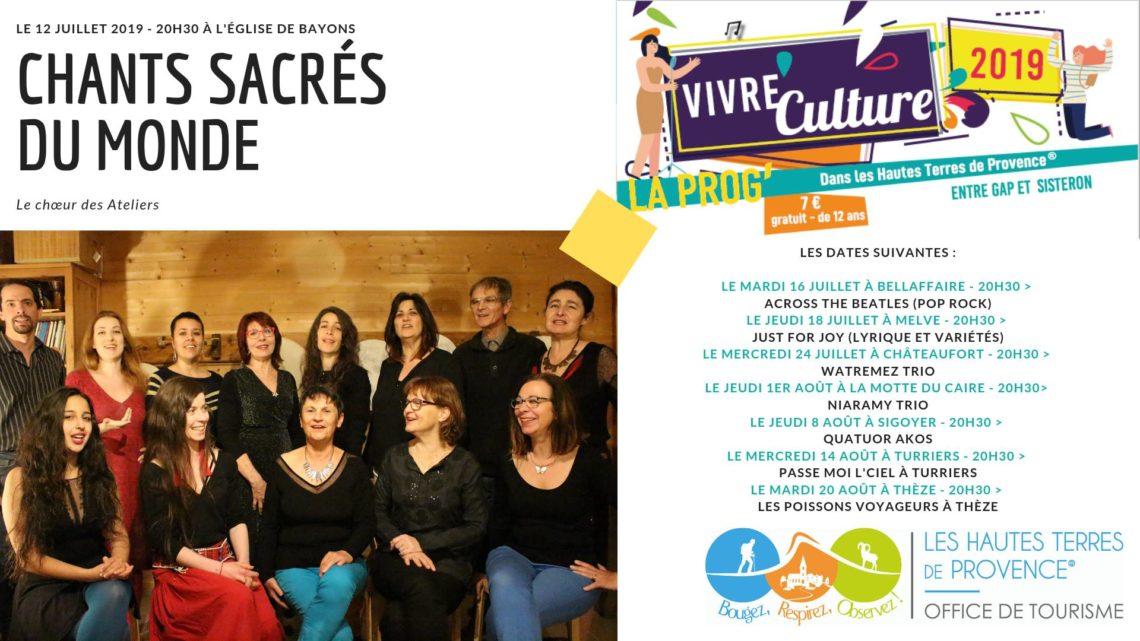 Vivre culture dans les Hautes Terres de Provence - du 12 juillet au 20 août 2019