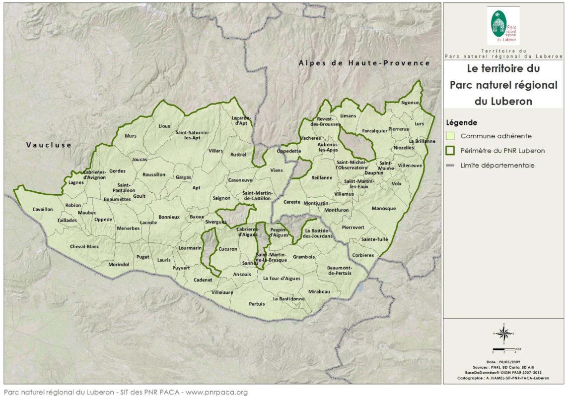 Carte du territoire du Parc naturel régional du Luberon
