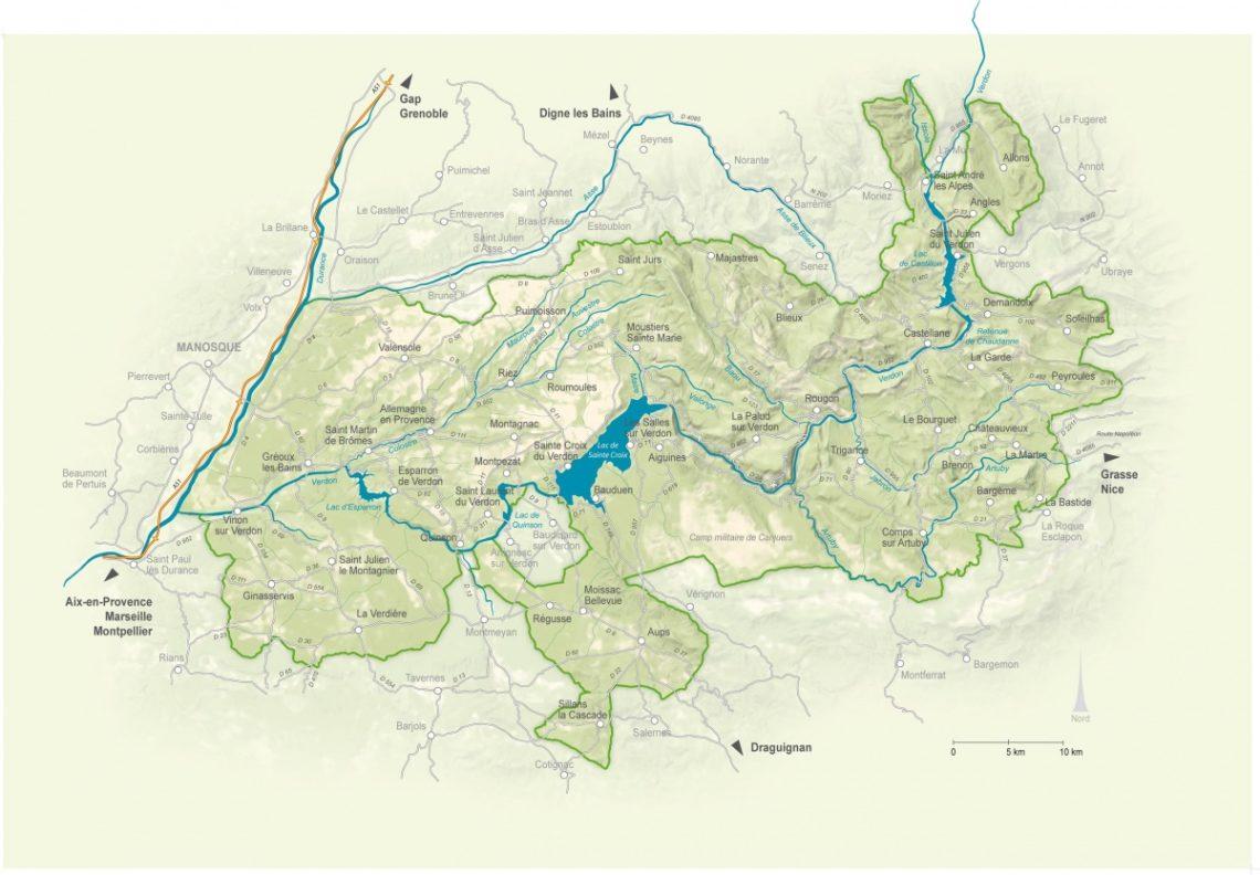 Carte du territoire du Parc naturel régional du Verdon