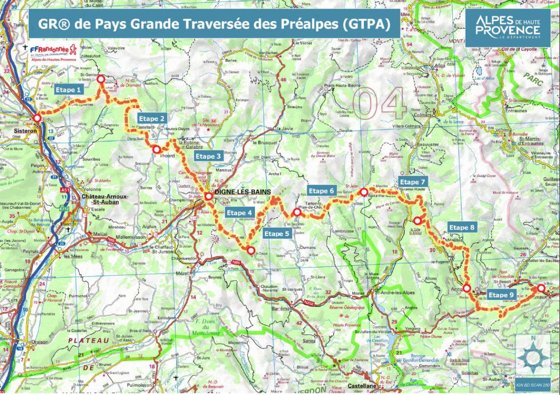 Carte du GR® de Pays - Grande Traversée des Préalpes (GTPA)
