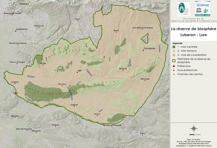 Carte du territoire de la Réserve de biosphère Luberon-Lure