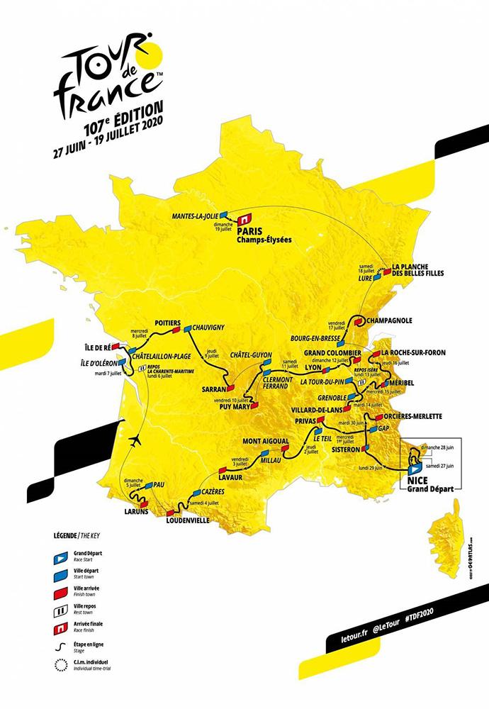 carte Tour de France 2020