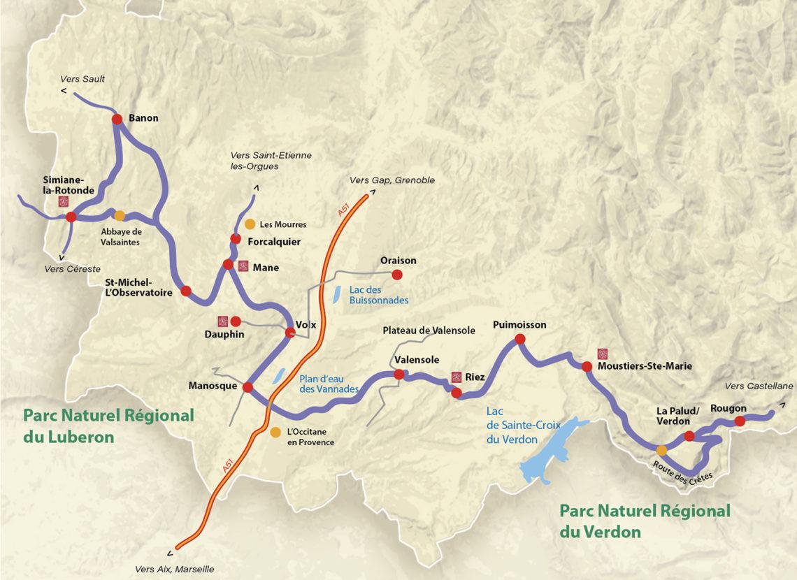 carte de l'itinéraire road-trip en van