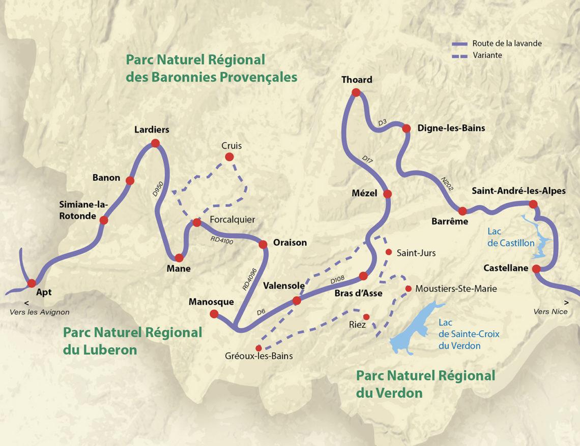 carte des Routes de la lavande