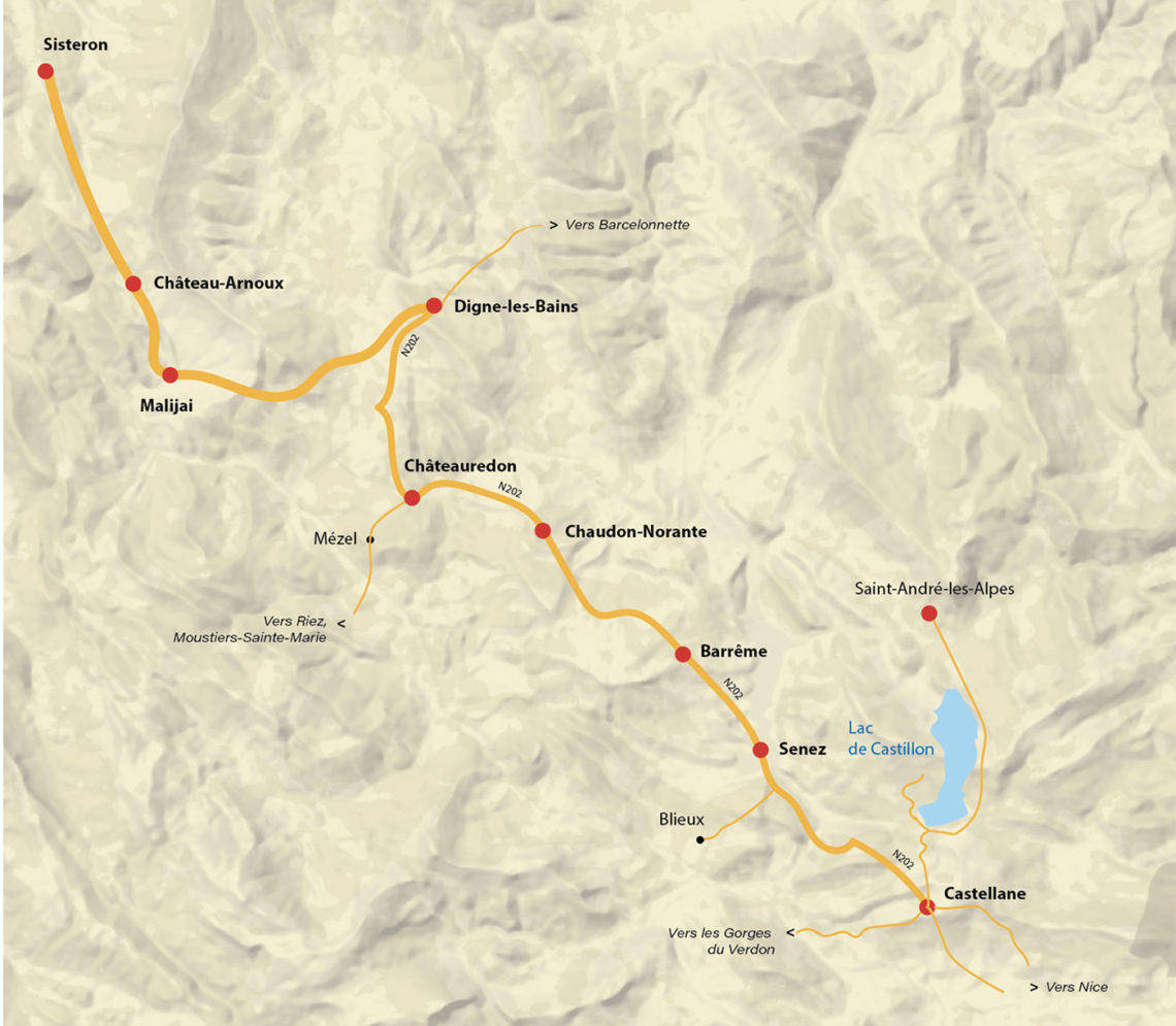 carte de la Route Napoléon