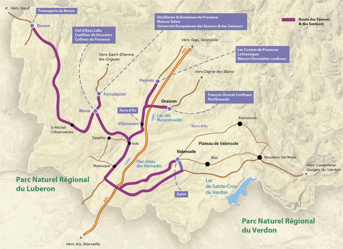 Carte de la Route des saveurs et des senteurs